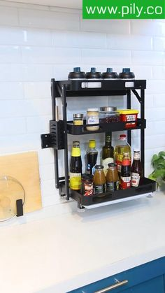 spice rack organization space saving Spice Rack Organization, Spice Rack Organiser, Kitchen Organization, Kitchen Shelves, Kitchen Storage, Kitchen Cabinets, Magnetic Spice Jars, Puja Room, Sims House