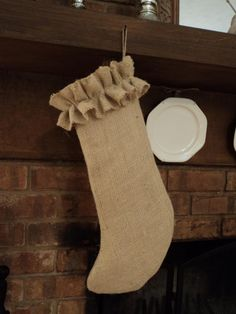 Natural or Ivory Burlap Christmas Stocking by theruffleddaisy, $22.00