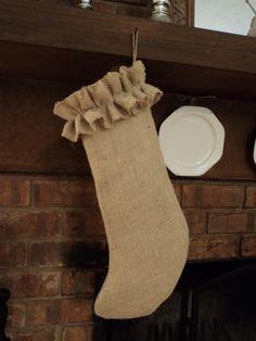 Burlap Stocking Christmas Stocking by theruffleddaisy on Etsy, $22.00