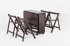"""Oliver Smith - 4 Person 48"""" x 32"""" - Solid Wood - Space Saving Drop Leaf Table Set - 5 Piece Set - 1 Table - 4 Folding Chairs - Espresso - sw707crs Wood Folding Table, Folding Chairs, Cheap Dining Sets, Cristina Celestino, Nautical Furniture, Hardwood Table, Drop Leaf Table, Table And Chair Sets, Oliver Smith"""