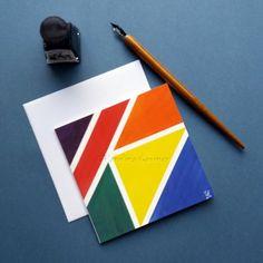 Limited Edition Greeting Card - Balanced Colours #1 - Abstract Mini Art Print Card Balance, Handmade Items, Handmade Gifts, Abstract Art, Greeting Cards, Colours, Art Prints, Mini, Artwork