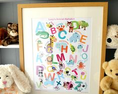 Alphabet Wall Art, Animal Alphabet, Childrens Wall Art, Rabbits, Framed Wall Art, Bee, Animals, Home Decor, Honey Bees