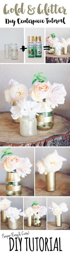 Easy and super stunning DIY Gold Glitter Bottle to Vase Tutorial. Makes stunning wedding centerpieces
