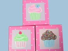 Items similar to Cupcake paintings set of three pink for child or baby hand painted on Etsy Painting For Kids, Art For Kids, Cupcake Nursery, Cupcake Painting, Cupcake Queen, Cupcake Shops, Custom Cupcakes, Girl Cupcakes, Paint Party