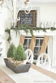 Buckets of Burlap:  Dining room mantel