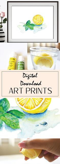 Yellow Kitchen Decor, Lemon Mint, Kitchen Decor, Food Illustration, Handmade Market