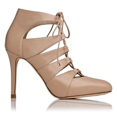 LK BENNETT | Honor leather lace up court in nude | Leather upper, lining and sole | Heel height: 10.5cm | £250
