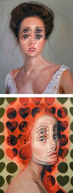 Portraits of women in double vision   surreal painting   modern painting   painted ladies   contemporary art