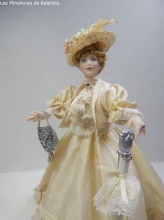 Madeleine, an edwardian doll 1/12th, Les Miniatures de Béatrice Porcelain, Victorian, Dolls, Dresses, Fashion, Miniature Dolls, Madeleine, Baby Dolls, Vestidos