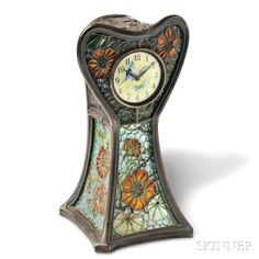 Art Nouveau Plique-a-Jour Enamel Table Clock, Eugene Feuillatre, France (Lot 230, Estimate $8,000-$10,000)