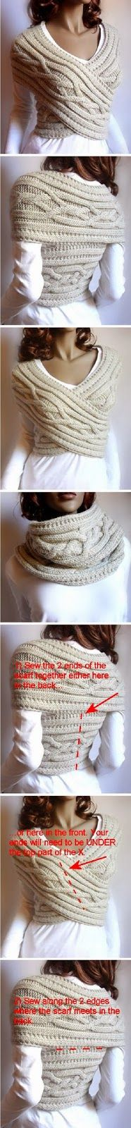 Loop knitting instructions: Knit shawl collar with cable pattern- Loop Strickanleitung: Schalkragen mit Zopfmuster stricken Loop knitting instructions E - Knitting Projects, Crochet Projects, Sewing Projects, Sewing Tips, Knitting Patterns, Crochet Patterns, Cowl Patterns, Vest Pattern, Fun Patterns
