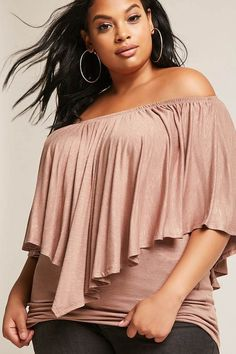 $28 FOREVER 21+ Plus Size Off-the-Shoulder Top #plussize #fashionaddict #trends #fashion #trendsetter #affilatelink