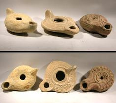 Three Classical Oil Lamps — Roman & Egyptian  1st to 3rd Century AD