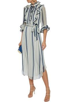 Shop on-sale Belted ruffle-trimmed striped georgette midi dress. Browse other discount designer Midi Dress & more luxury fashion pieces at THE OUTNET Coat Dress, Jacket Dress, Shirt Dress, Dress Outfits, Fashion Outfits, Dresses, Midi Dress Sale, Denim Shop, Ruffle Trim