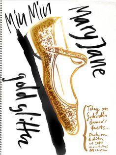 MaryJane miu miu glitter pumps  seen on Gabriella Bensa's feet today (fashion editor at CHI/Mondadori