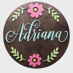 Name Sign for Nursery Nursery Decor 23 Round Wood Wood Name Sign, Wood Names, Wood Signs, Decor Crafts, Wood Crafts, Diy And Crafts, Nursery Signs, Nursery Decor, Baby Name Signs