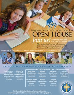 Flyer Catholic Schools Week, Marketing Postcard, School Advertising, School Enrollment, School Brochure, School Admissions, Private School, School Design, Open House