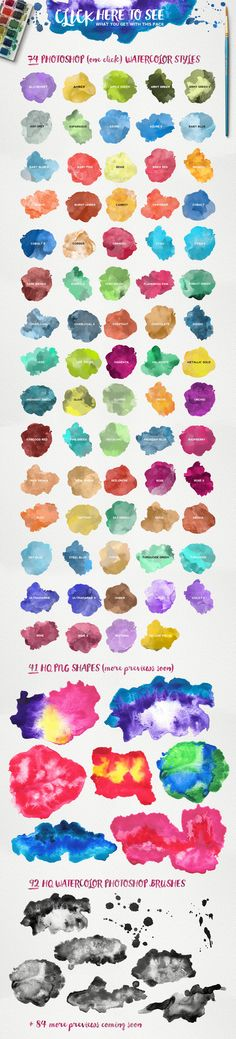 Watercolor Ultimate KIT is a set of hand-made watercolor PHOTOSHOP STYLES, HQ PHOTOSHOP BRUSHES and HQ PNG SHAPES to add unique watercolor effects easy.