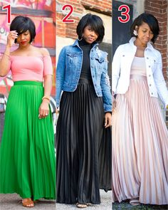 """99 Likes, 13 Comments - Adrienne """"Sweenee Style"""" (@sweeneestyleblogger) on Instagram: """"Hey Y'all! Same Skirt - 3 colors... Which WAY WOULD YOU WEAR IT? #sweeneestyle"""" Jean Jacket Outfits, Skirt Outfits, Dress Skirt, Modern Outfits, Stylish Outfits, Casual Attire, Church Outfits, Modest Fashion, Love Fashion"""