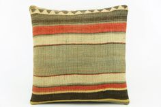 Accent pillow Red striped taupe pillow cover  16 by GalenUnique, $21.00