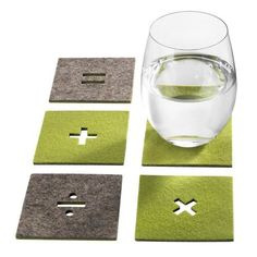 """DIY ~ Cute felt coasters that would be an easy DIY. (If you can't find the 1/8""""-1/4"""" thick felt material....Use fabric stiffener on your felt...cut out the image and then, glue 2-3 pieces of felt together)"""
