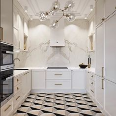 Geometric floor tiles are bringing this white kitchen to life. Not to mention th… – Decoration Apartment Kitchen, Home Decor Kitchen, Kitchen Interior, Home Kitchens, Interior Modern, Interior Styling, Küchen Design, House Design, Appartement Design