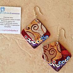 """""""Charming"""" orecchini, collezione """"Tribute"""" di Insight by Ida Di Palma, autunno 2013. Ami in argento 925 dorato.  Vitello dipinto..."""