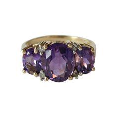 Vintage 14K Gold Amethyst & Diamond Ring, c. 1970s. $850