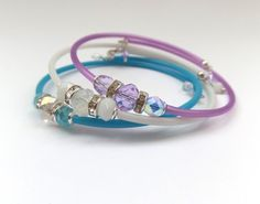 ONE Modern Skinny Rubber Bangle, Crystal beads, Memory Wire and Teal, Violet or White Tube.