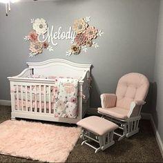 Mildred Rodriguez-pena added a photo of their purchase Baby Girl Nursery Decor, Floral Nursery, Baby Bedroom, Baby Room Decor, Nursery Room, Nursery Wall Decor, Nursery Ideas, Pink And Gray Nursery, Boho Nursery