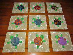 Set of  12  Batik  Turtle  Quilt  Blocks