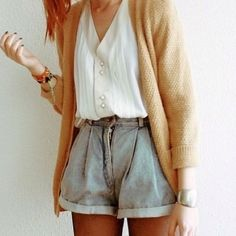 cardigan sweater + belted shorts.