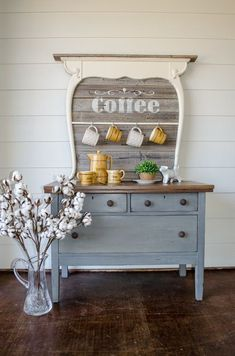 DIY vintage wash stand makeover, re-purposed coffee bar, Farmhouse style. this … DIY vintage wash stand makeover, re-purposed coffee bar, Farmhouse style. this is the CUTEST coffee bar I've ever seen 😍 Bar Furniture, Rustic Furniture, Furniture Makeover, Painted Furniture, Antique Furniture, Garden Furniture, Bedroom Furniture, Farmhouse Style Furniture, Furniture Dolly
