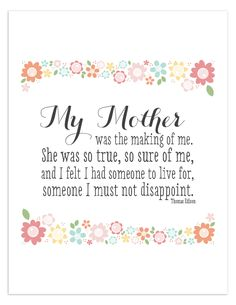Free Printable quote for Mothers day.