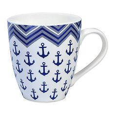 Whether you love nautical-themed décor, or miss being by the ocean, this Pfaltzgraff Anchor Mug will remind you of the sea every time you use it. Crafted from bone porcelain, the mug holds 18 oz., and is dishwasher and microwave safe.