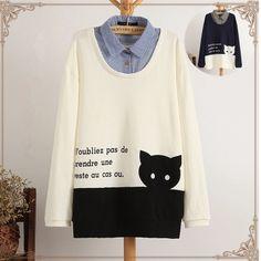 Cartoon cat long-sleeved t-shirt