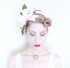 1950s Fascinator / VINTAGE / Birdcage Veil / Blusher Veil / Pastel Pink / Pink Roses / Velvet Ribbon by HighHatCouture on Etsy