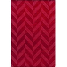 Central Park Red Chevron Carrie Area Rug