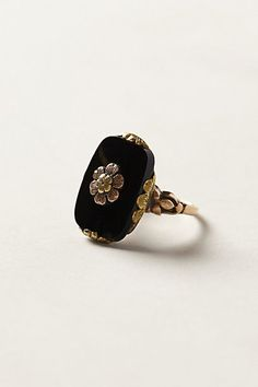 Vintage Onyx Bloom Ring #anthropologie