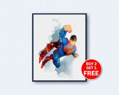 Superman Poster, Superman Watercolor, Movie Poster, Comics Poster, Movie Watercolor, Watercolor Art, Wall Decor, Home Decor by TheWoodenKat on Etsy