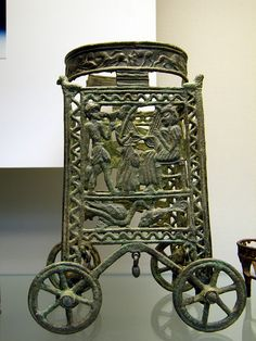 Bronze Age Etruscan: Minoan  bronze stand, c.1400BC Cyprus, exhibited at The British Museum