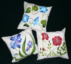 Hand painted pillows from   Paint Misbehavin
