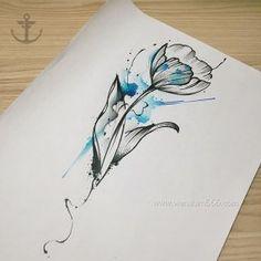 泼墨花朵纹身手稿