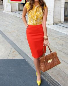 Yellow + redish orange