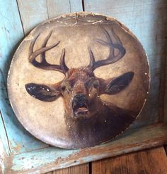 An Antique Late 1800s Elk Painting On by PocketFullOfHeirloom