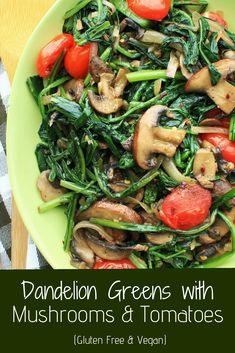 Why on earth would you spend your money to buy weeds? Try this simple dandelion tomato mushroom recipe and you'll understand why. These greens have a bit of a bitter flavor that works great with garlic, ginger and tomatoes. They're also pretty nutritious Mushroom Recipes, Veggie Recipes, Healthy Dinner Recipes, New Recipes, Salad Recipes, Vegetarian Recipes, Dandelion Recipes, Recipe For Dandelion Greens, Sauteed Mushrooms