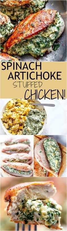 Spinach Artichoke Stuffed Chicken is a delicious way to turn a creamy dip into an incredible dinner! Serve it with a creamy sauce for added flavour! Healthy Dinner Ideas for Delicious Night & Get A Health Deep Sleep Great Recipes, Keto Recipes, Cooking Recipes, Healthy Recipes, Zoodle Recipes, Easy Recipes, Dip Recipes, Appetizer Recipes, Vegetarian Recipes