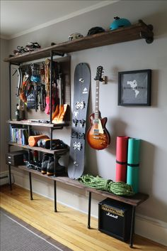 Just finished building these shelves and project gear room is off to a great start! Materials: boards - cut to 8 and 4 pieces Wood stain Lots of black steel plumbing pipe and connectors Gloves and a good power drill! Room Setup, Home Room Design, Aesthetic Rooms, House Rooms, My Room, Home Projects, Bedroom Decor, Interior Design, Plumbing Pipe