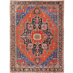 View this impressive geometric central medallion design, antique Persian Heriz Serapi rug from the Nazmiyal Collection in NYC. Persian Carpet, Persian Rug, Rug World, Grey Carpet, Carpet Runner, Islamic Art, Rugs On Carpet, Bohemian Rug, Runners