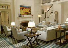 "The living room from ""Something's Gotta Give"" with the now-famous blue-striped rug."
